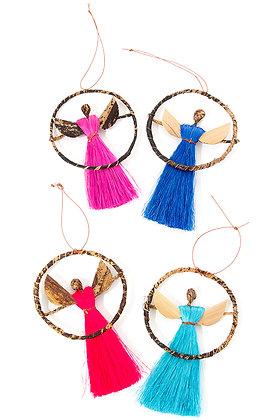 Four (4)  Banana Fiber and Colorful Sisal Halo Angel Ornaments