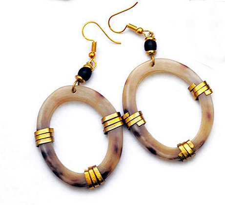 Kenyan Cow Horn and Brass Oval Earrings