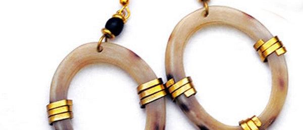 Kenyan Cow Horn and Brass Oval Earrings