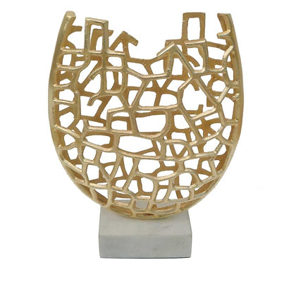 Unique Toben Vase in Brass And White