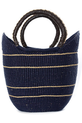 Midnight Blue Pinstripe Carrier with Leather Handles