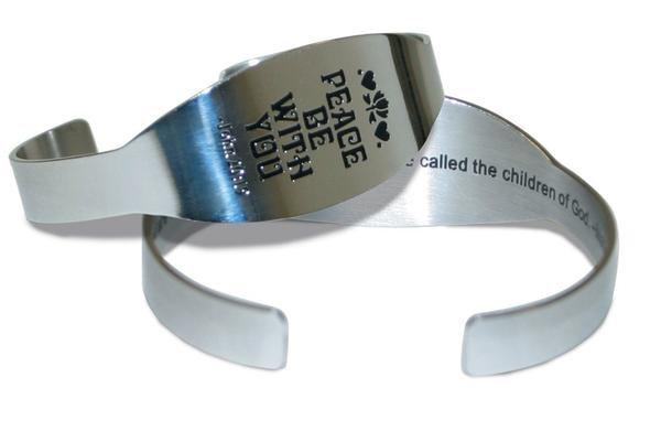 Peace Be With You Unisex Metal Bracelet  (Gift-Boxed)