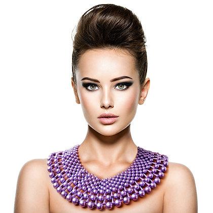 Lavender Pearl Collar Necklace Set