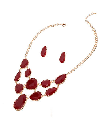 Burgundy Teardrop Resin Necklace Set