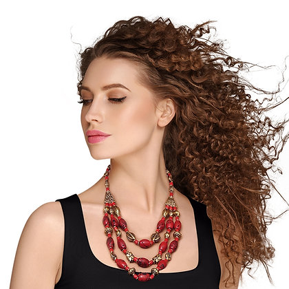 Unique and Stylish Red/Burnished Gold  Bead Bohemian Necklace