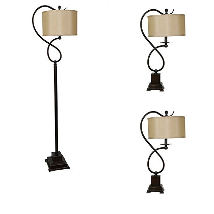 3pc Table Floor and Floor Lamp Set in Metal and Resin Finish