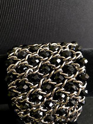 Sparkling Silver Chain and Black Wide Bracelet, Statement Bracelet