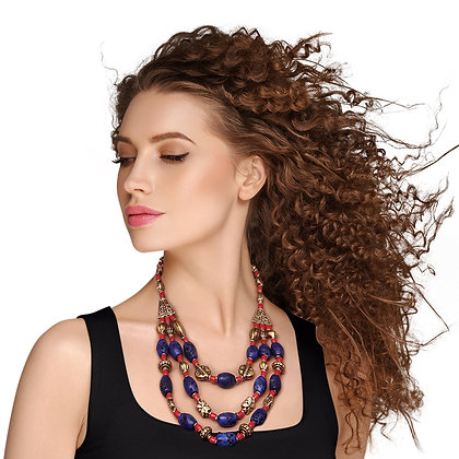 Unique and Stylish Blue /Burnished Gold/Red  Bead Bohemian Necklace