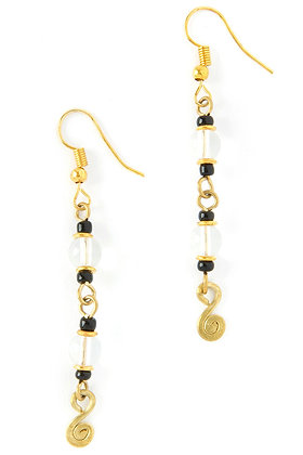 Kenyan Stardust Brass and Glass Bead Earrings