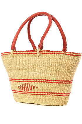 Red Diamond Shopper with Leather Handles