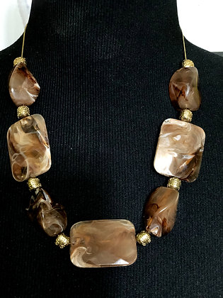 Glazed Brown Gold Accent Necklace