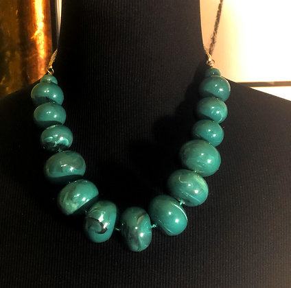 Dark Green Round Stone Resin Necklace w/ Earrings