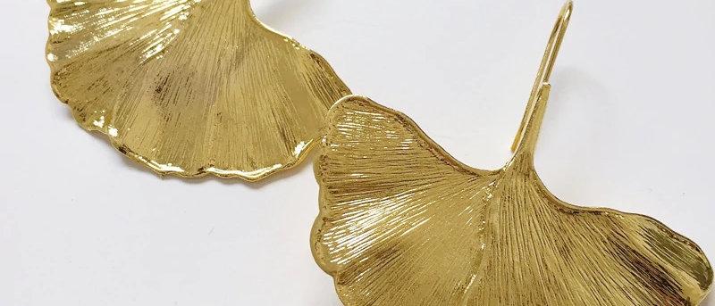 Gold Color Leaves Metal Earrings