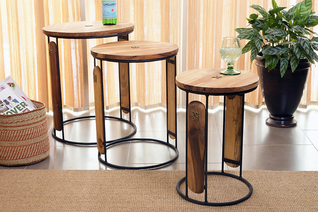 Set of Three Round Ghanaian Nesting Tables