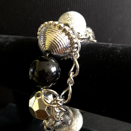Frosted Metallic Silver Chunky Bracelet
