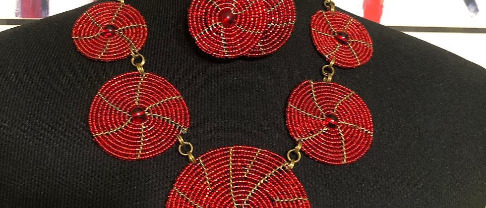 Handmade Maasai Beaded Necklace with Matching Earrings