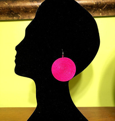 Woven Sisal Straw Disc Earrings-Pink_Medium
