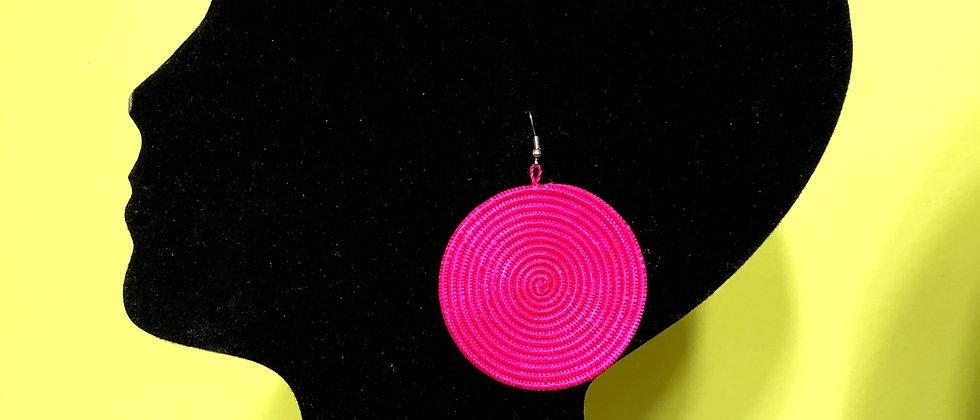 Woven Sisal Straw Disc Earrings-Pink_Medium