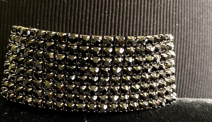 8-Tiered Sparkling Black Rhinestone Stretch Bracelet