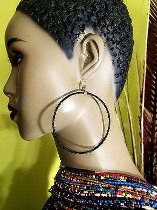 Black Beaded Earring Hoops