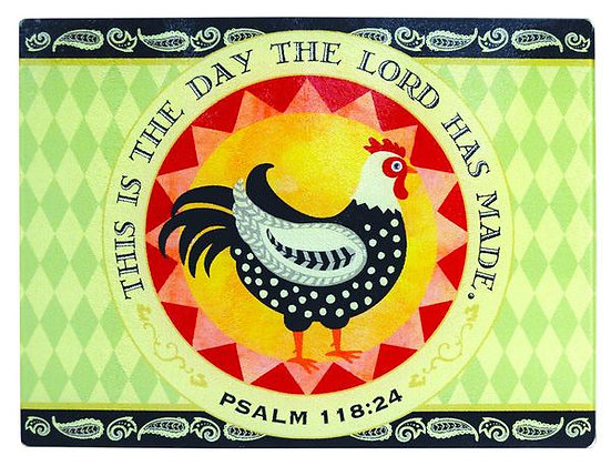 """LARGE ROOSTER GLASS CUTTING BOARD  15. 875"""" x 12"""""""