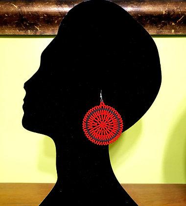 Disc Beaded Earrings-Red Design