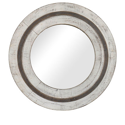 "Turning Reflection Natural White 31 1/2"" Round Wall Mirror"