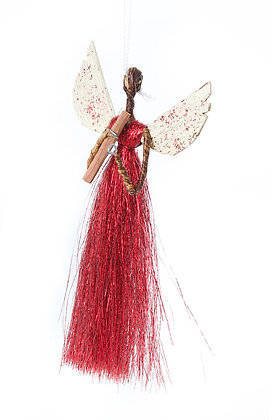 Three (3) Banana Fiber & Red Thread Angel Ornament