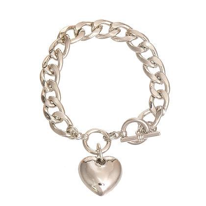 Silver Metal Heart Toggle Bracelet