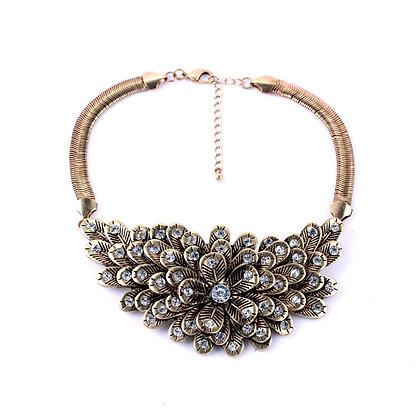 Beautiful Bronze-like Choker Rhinestone Flower Metal Necklace