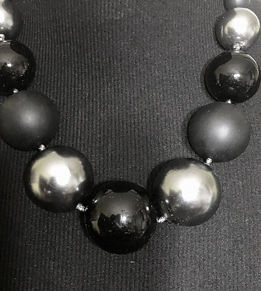 Black and Silver Resin Ball Necklace