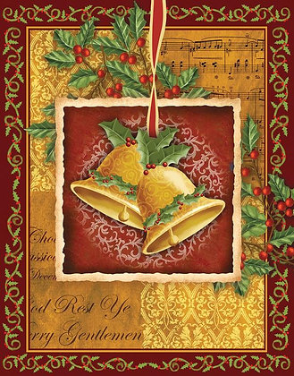 18 LINEN-TEXTURED CHRISTMAS CARDS: CHRISTMAS BELLS