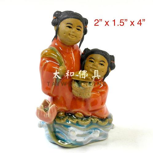 """石灣陶瓷和合二仙 4"""""""