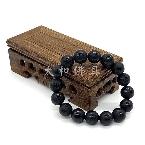 黑瑪瑙磨砂六字咒手珠