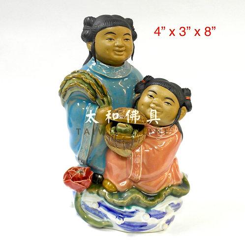 """石灣陶瓷和合二仙 8"""""""