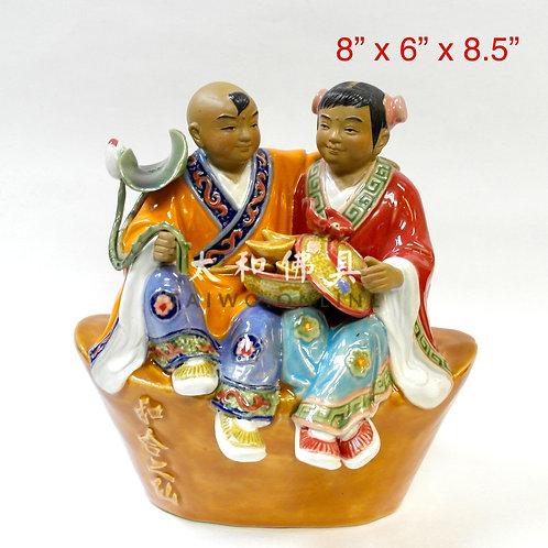 """石灣陶瓷和合二仙 8.5"""""""