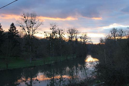 rivière Sèvre Niortaise coucher de soleil