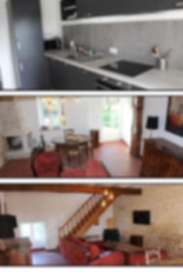 Gîte rez de chaussée cuisine, cheminée, poutres apparentes  salon salle à manger