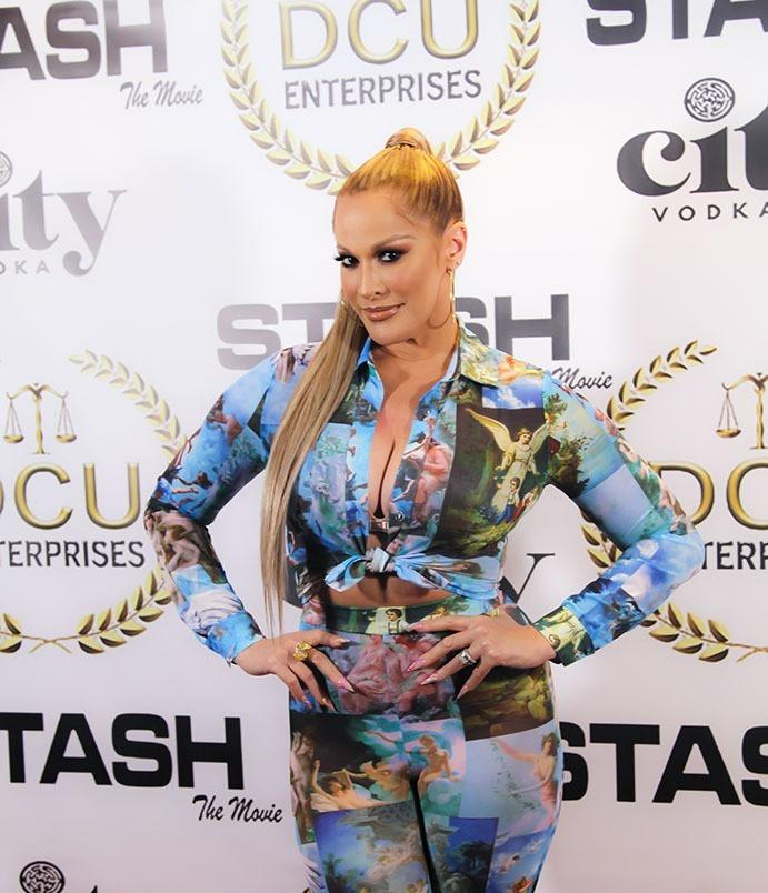 Actress Nicole Katina strikes a pose at Stash the Movie private screening