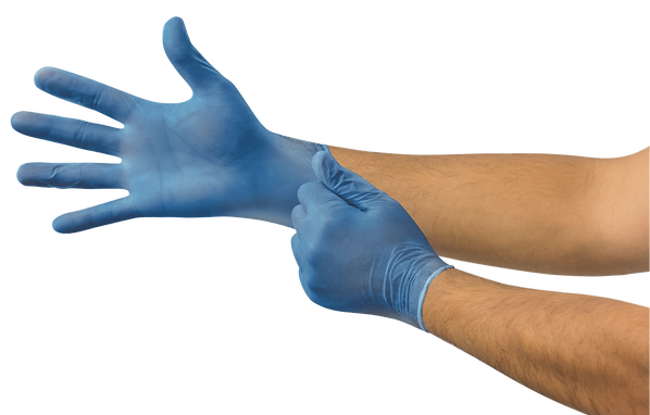 Microflex V29 Disposable Gloves, Vinyl, Powder Free, Blue, Medium, 100 per box