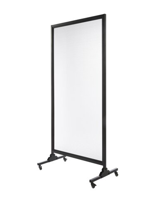 "Quartet Mobile Room Divider Clear 72"" x 48"" with Lockable Casters"