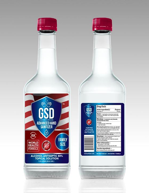 GSD Liquid Sanitizer WHO Formula 1 Liter 12 bottles per case with Spray Nozzles