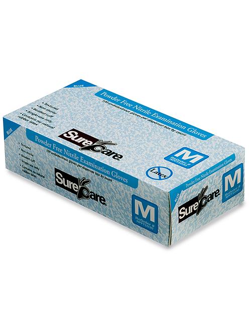 SureCare® Premium Nitrile Examination Gloves 5 Mil Powder Free Blue S M L