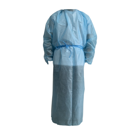 Non Woven Blue Disposable Isolation Gown Waterproof level 2 grade, 35 GSM