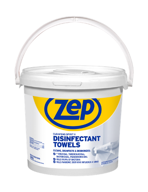 ZEP Clean'Ems Spirt II Disinfectant Towels 7x7 inch 300 wipes per container tub