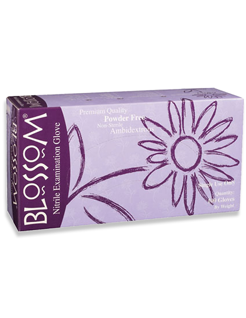 Blossom Nitrile Examination Gloves 4 Mil Powder Free Teal Blue Medium, Large, XL