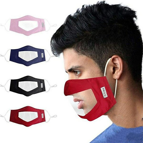 "Hearing Impaired Anti Dust Unisex Visible Face Mask Cotton Vinyl 5.5"" x 8.7"""