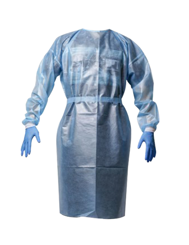 Non Woven Blue Isolation Gown with PE Coating AAMI Level 3 PP+PE 50 GSM