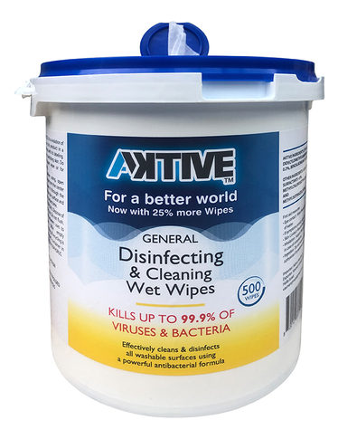Aktive Disinfecting Wet Wipes White 500 pcs 7 x 8 inch /Bucket