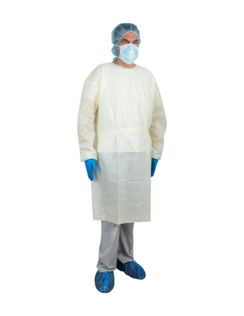Sol-M™ SMS Isolation Gown Yellow AAMI Level 2 One Size Fit All up to Large 23GSM